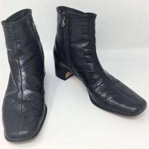 Brighton Black Croc Print Leather Ankle Boots 10M